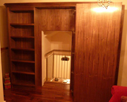 Walnut bookcase with secret door