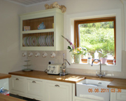 Painted in frame kitchen with solid oiled oak worktop